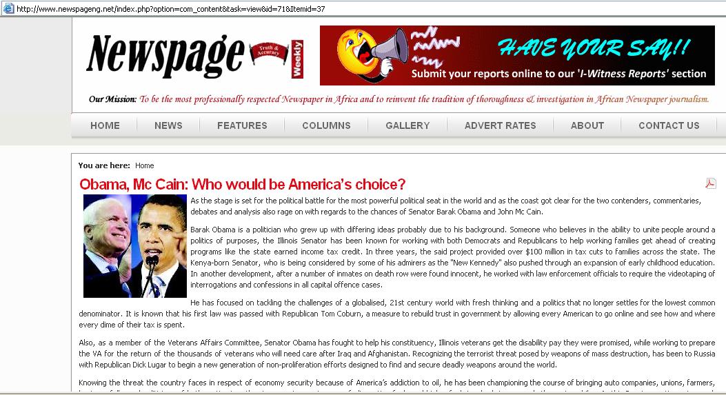 "Nigeria's Newspage declares Obama ""Kenyan-born"", October, 2008"