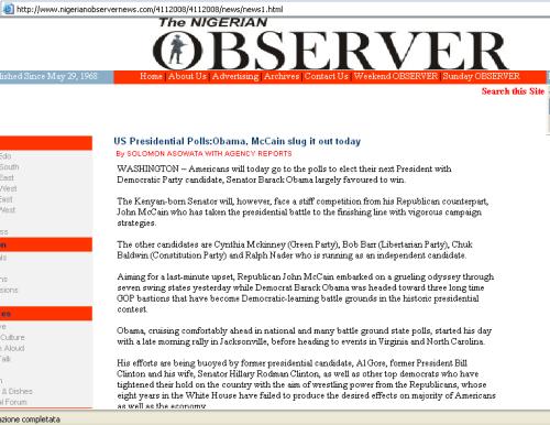 "The Nigerian Observer declares Obama ""Kenyan-born"", Nov. 4, 2008"